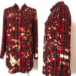 Divided flannel, Snagz custom bleach, Sz 6, red